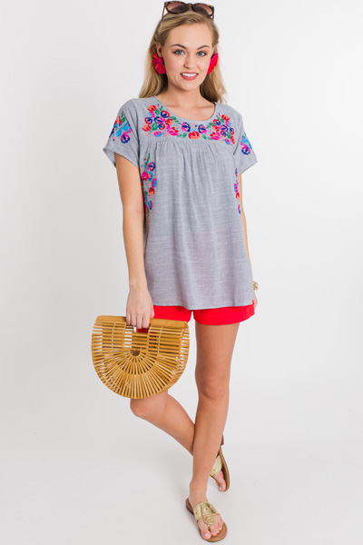 Beach Embroidery Top, Black