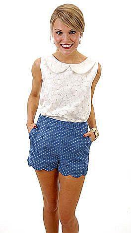 KARLIE Denim Dots Shorts