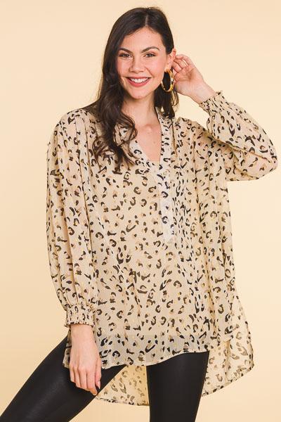 Metallic Cheetah Tunic, Latte