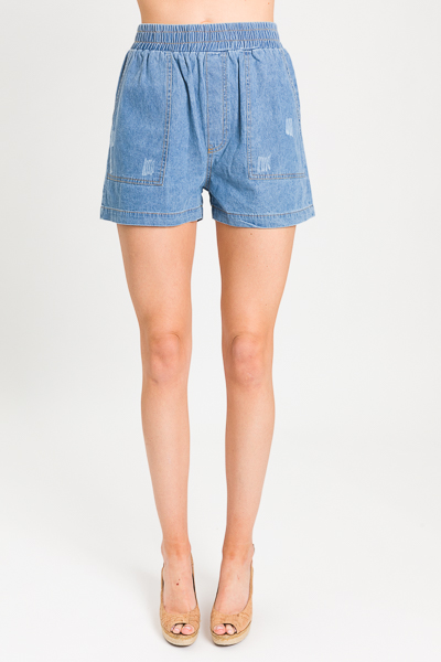 Pull On Chambray Shorts, Blue
