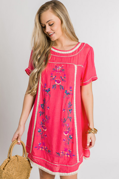 Stitched Blooms Dress, Coral