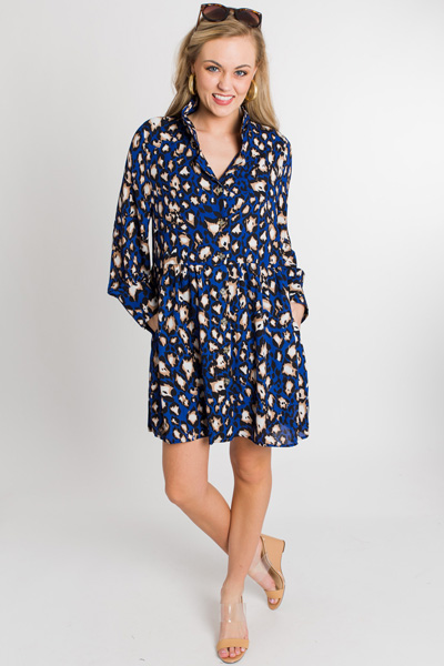 Electric Leopard Button Dress