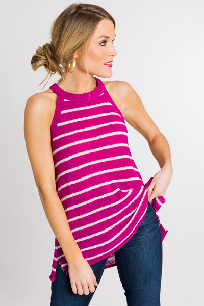 Sweet Sweater Tank, Magenta Stripes