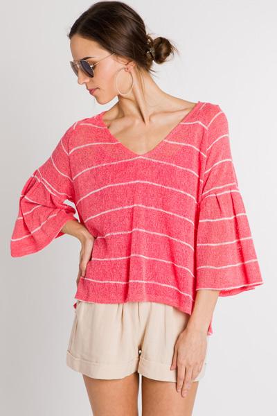 Call Me Coral Stripe Sweater