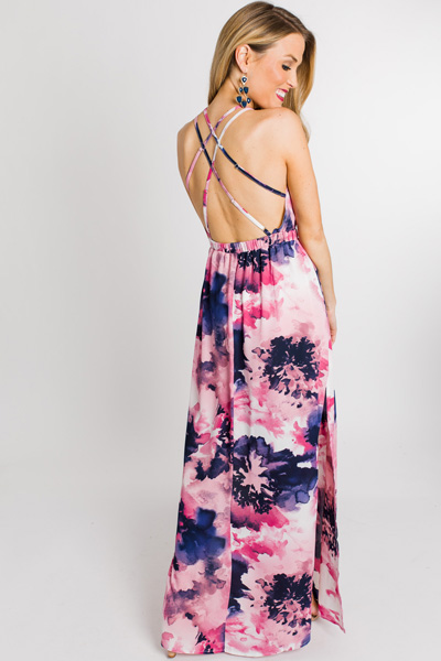Navy Blooms Strappy Maxi