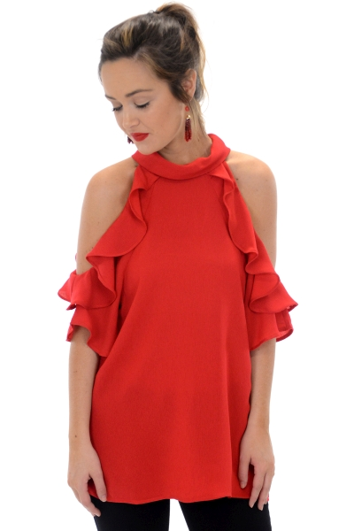Gracie Cold Shoulder, Red