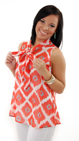 Ikat Tie Top, Orange