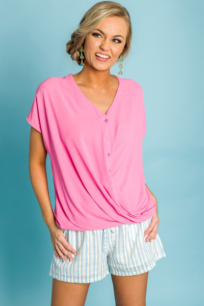Sherbet Button Top, Pink