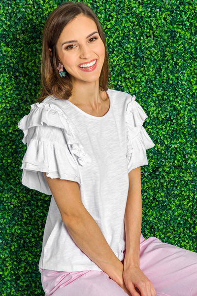 Ruffled Shoulders Tee