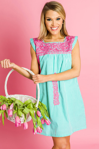 Pink Pop Embroidered Shift, Mint