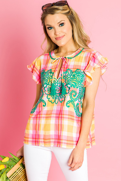 Sunset Plaid Embroidered Top