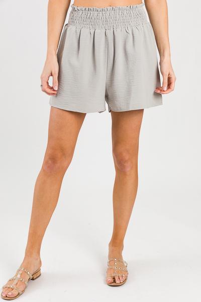 Abigail Smock Shorts, Warm Grey