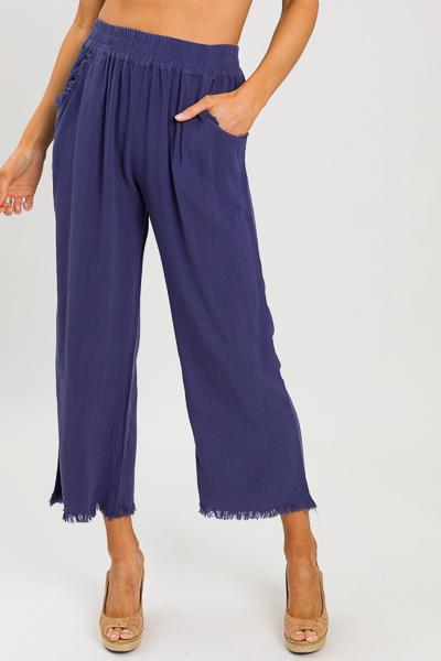 Cropped Linen Pant, Denim