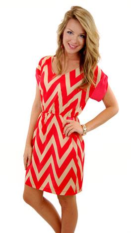 Becca Chevron Dress, Red