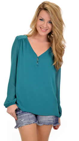 Quilted Yoke Blouse, Teal