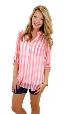 Candy Stripe Top, Pink