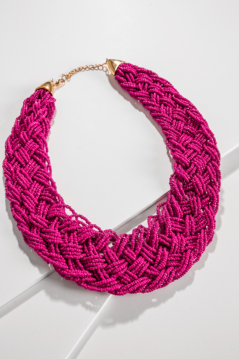 Fuchsia Braid Necklace