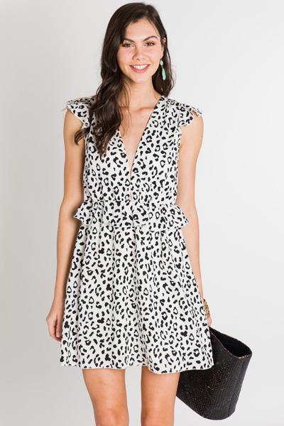 White Leopard Dress