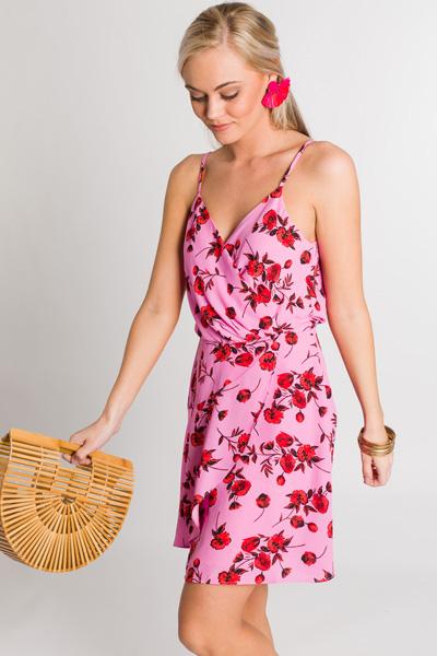 Bubblegum Floral Wrap Dress