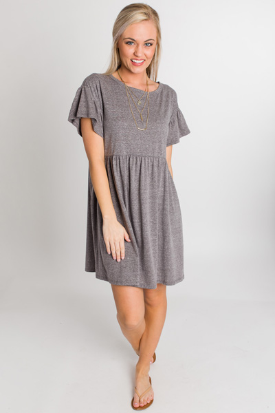 Grey For Days Babydoll Dress