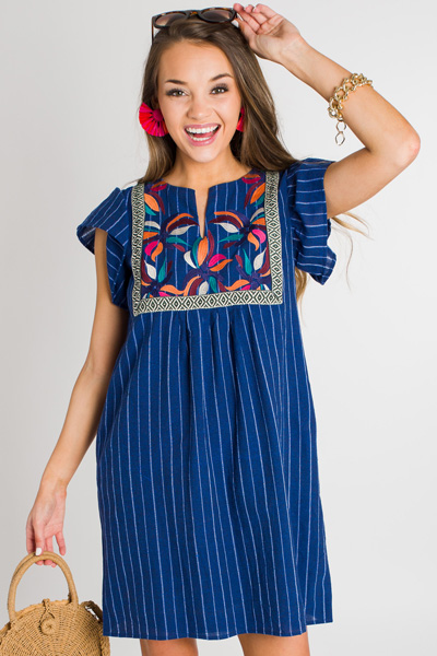 Navy Stripe Embroidered Dress