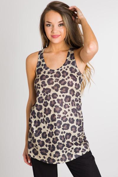Printed Knit Tank, Leopard
