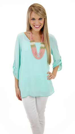 Please & Thank You Tunic, Mint