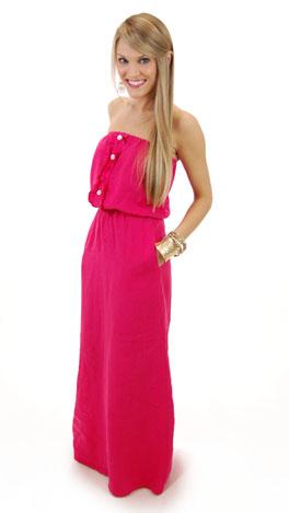 Ruffle Linen Maxi, Pink