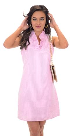 Sailor Seersucker Dress, Pink