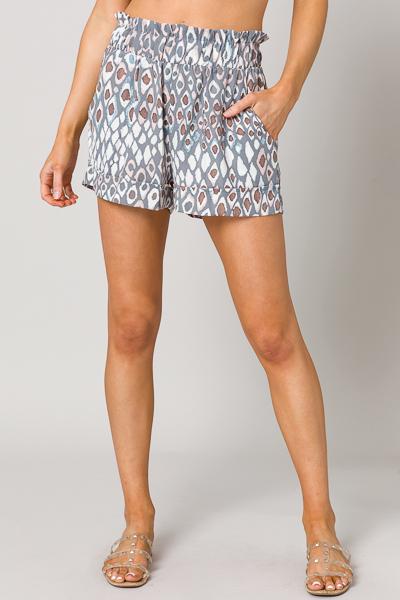 Drake Printed Shorts, Mauve Gray