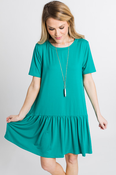 Drop Waist Tshirt Dress, Green