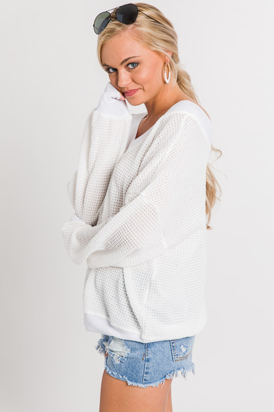 Banded Waffle Top, Ivory