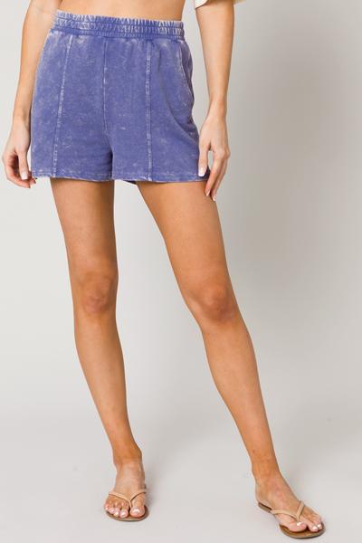 Mineral Washed Shorts, Indigo