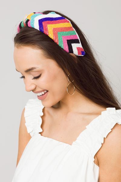 Rainbow Beaded Headband