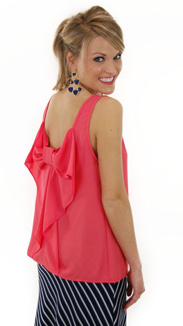Bow Back Tank, Coral