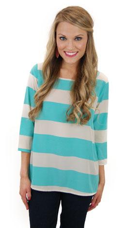 Savannah Stripes Top, aqua