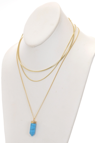 Crystal Pendant Layers Neck, Turq
