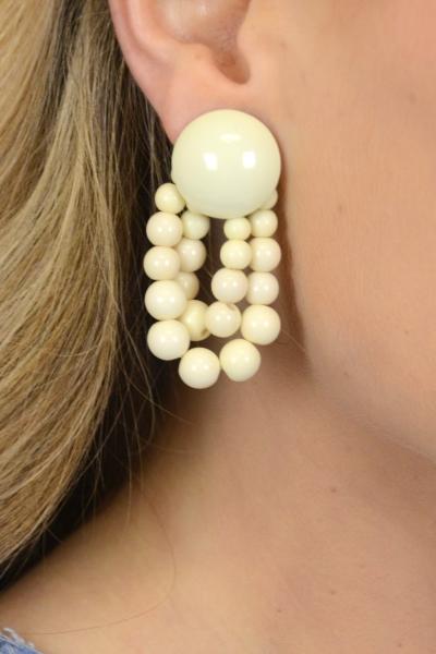 Big Beads Earring, Cream