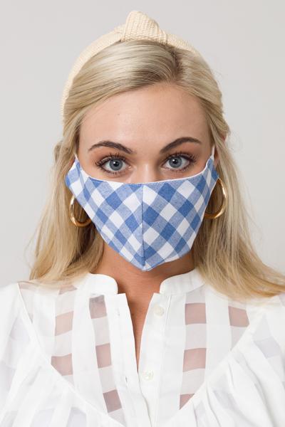 Gingham Check Mask, Blue