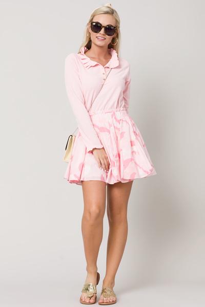 Groovy Godet Skirt, Pink