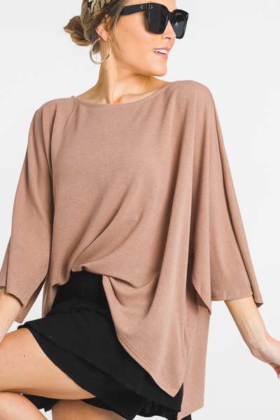 Square Sleeve Top, Tan