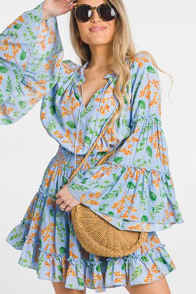 Orchard Flounce Dress, Blue