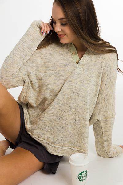 Neutrals Button Pullover, Cream