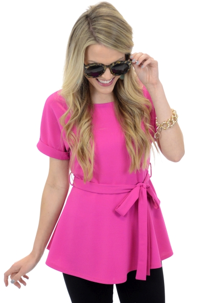 Best Belted Blouse, Fuchsia