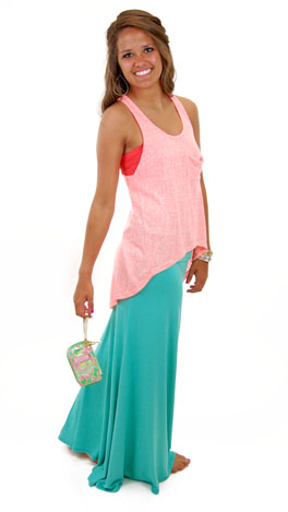 Solid Maxi Skirt, Mint