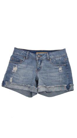 Cut Off Cuff Shorts, Med Blue