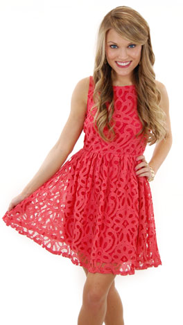 Georgia on My Mind Dress, Coral