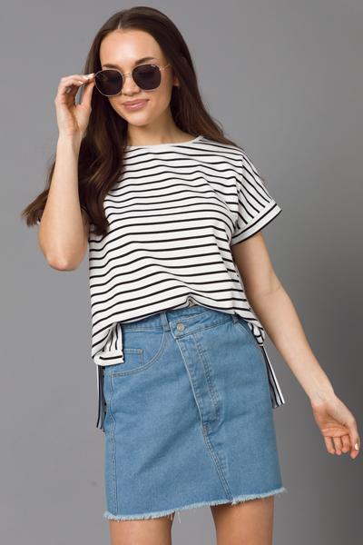 Slanted Zipper Denim Skirt