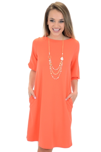 Essential Pocket Dress, Orange
