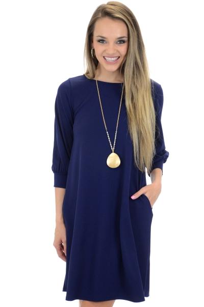 Essential Pocket Dress, Navy